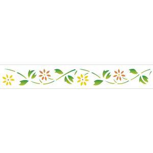 Stencil-Opa-4x30cm-para-Pintura-Simples-OPA194-Flores-Margaridas