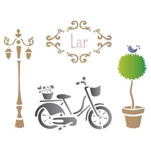 Stencil-Opa-20x25cm-para-Pintura-Simples-OPA1401-Bicicleta-e-Poste