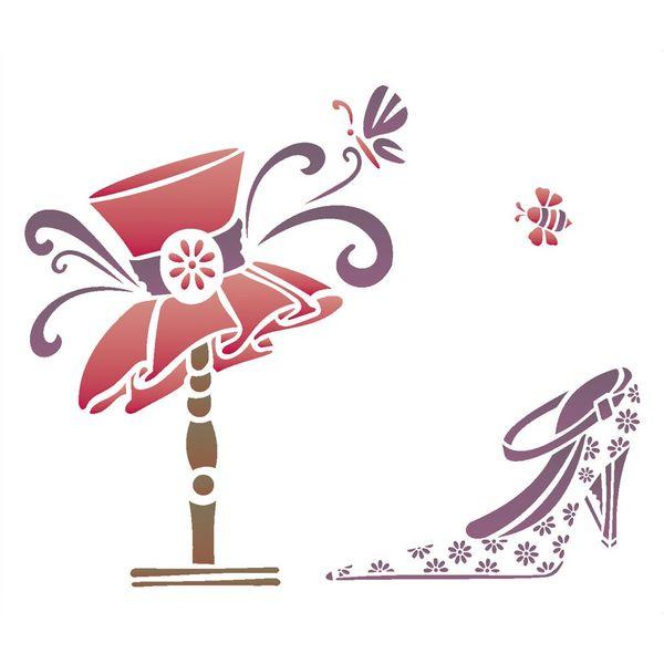 Stencil-Opa-20x25cm-para-Pintura-Simples-OPA1415-Sapato-e-Chapeu