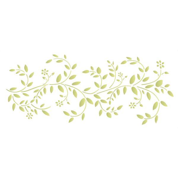 Stencil-Opa-17x42cm-para-Pintura-Simples-OPA1393-Galhos-com-Folhas