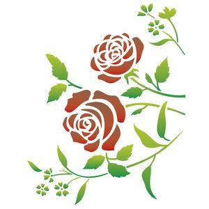 Stencil-Opa-32x42cm-para-Pintura-Simples-OPA1422-Flores-Roseira
