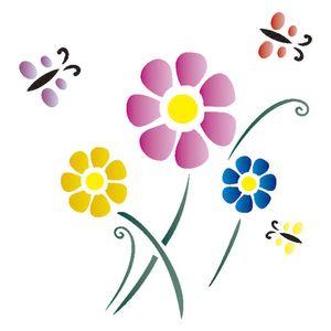 Stencil-Opa-14x14cm-para-Pintura-Simples-OPA986-Flores