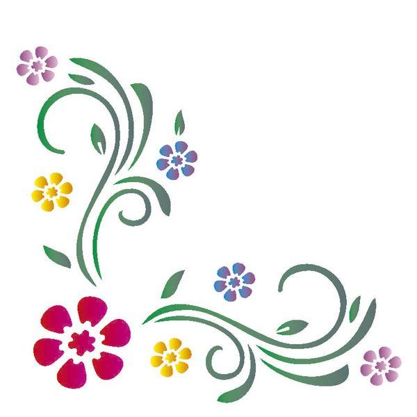 Stencil-Opa-14x14cm-para-Pintura-Simples-OPA1027-Cantoneira-Flores-II