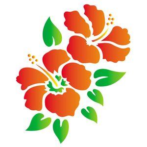 Stencil-Opa-15x20cm-para-Pintura-Simples-OPA755-Flores-Hibiscos-I