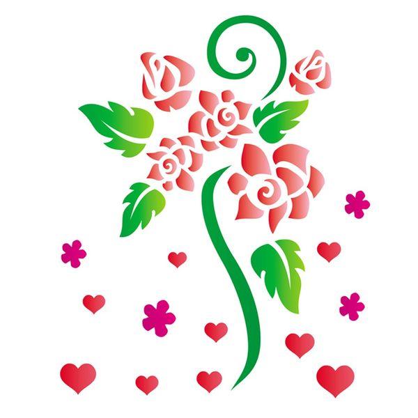 Stencil-Opa-15x20cm-para-Pintura-Simples-OPA756-Flores-Rosas-Romanticas