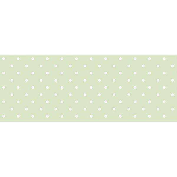 Barra-Adesiva-Decoupage-Litocart-LB-724-44x4cm-Poa-Branco-Fundo-Verde