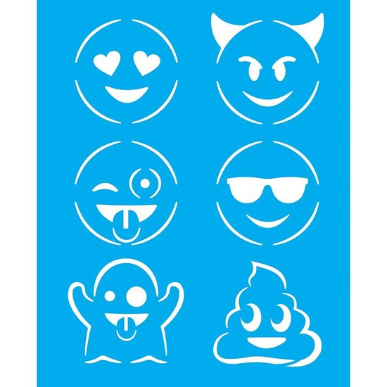 Stencil-Litocart-25x20cm-para-Pintura-Simples-LSG-114-Emoticons