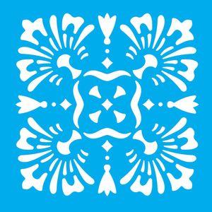 Stencil-Litocart-14x14cm-para-Pintura-Simples-LSP-059-Azulejo-Flor