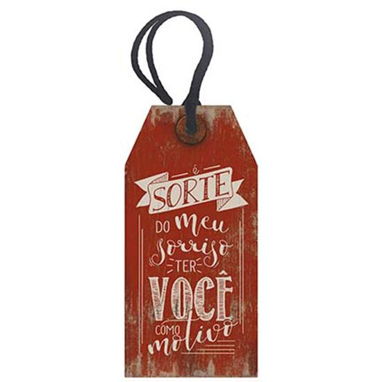 Placa-TAG-MDF-Decorativa-Litoarte-DHT2-019-143x7cm-E-Sorte-do-Meu-Sorriso-ter-Voce