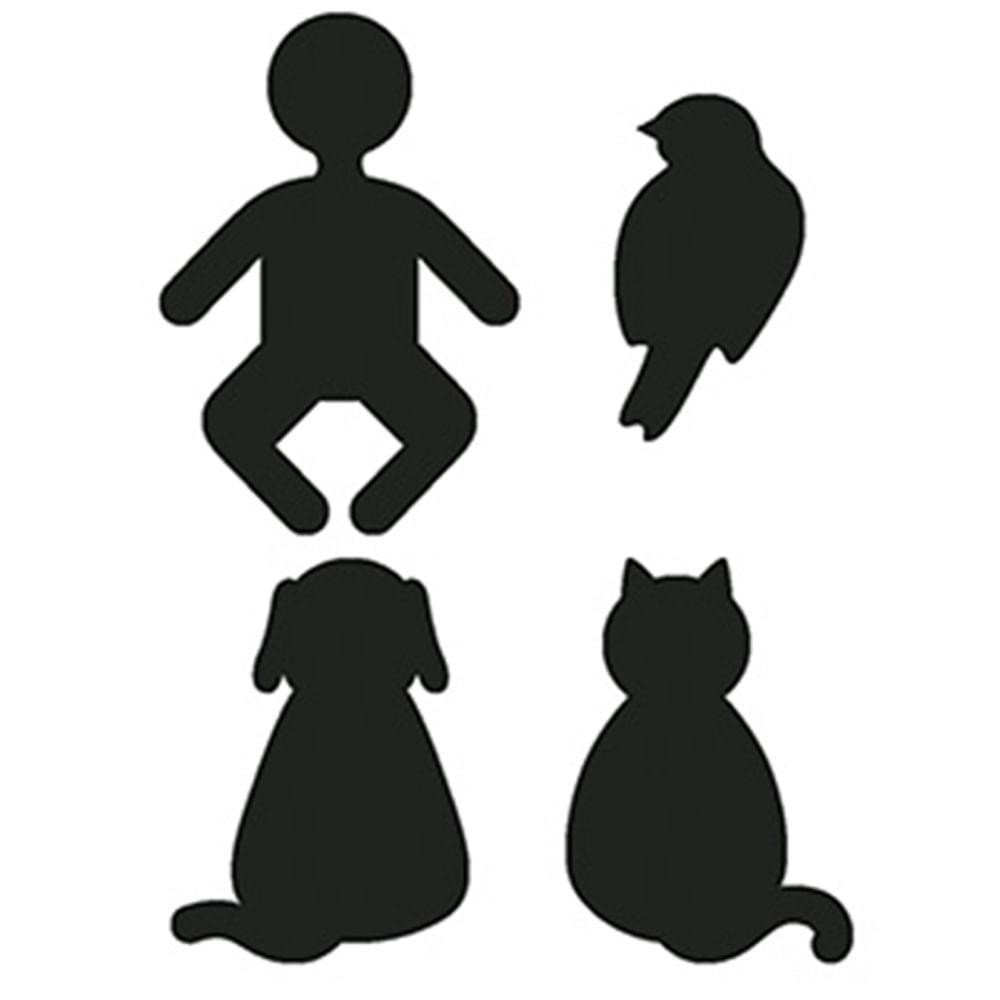 Aplique Decoupage Litoarte APM3-216 em Papel e MDF 3cm Silhuetas Bebê,  Pássaro, Cachorro e Gato - PalacioDaArte bb2388b51f