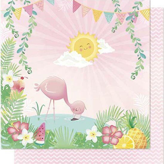Papel-Scrapbook-Litoarte-SD-705-Dupla-Face-305X305cm-Flamingo-Lago-Sol-e-Chevron