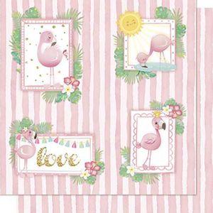 Papel-Scrapbook-Litoarte-SD-706-Dupla-Face-305X305cm-Flamingos-Molduras-e-Listras