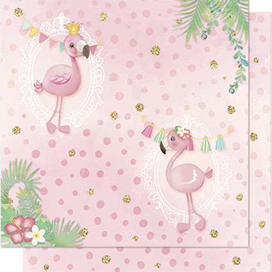 Papel-Scrapbook-Litoarte-SD-707-Dupla-Face-305X305cm-Flamingos-Bandeirolas-e-Poa