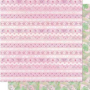 Papel-Scrapbook-Litoarte-SD-708-Dupla-Face-305X305cm-Padrao-Tribal-e-Folhas-Tropicais