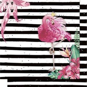 Papel-Scrapbook-Litoarte-SD-709-Dupla-Face-305X305cm-Flamingo-com-Coroa-e-Listras-Preto-e-Branco