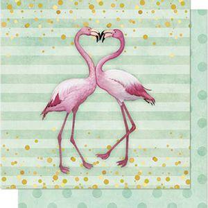 Papel-Scrapbook-Litoarte-SD-710-Dupla-Face-305X305cm-Flamingos-com-Listras-e-Poa-Verde