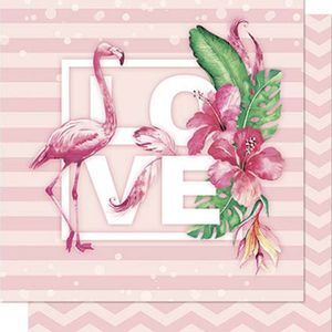 Papel-Scrapbook-Litoarte-SD-711-Dupla-Face-305X305cm-Flamingo-Love-Tropical-Chevron-Rosa