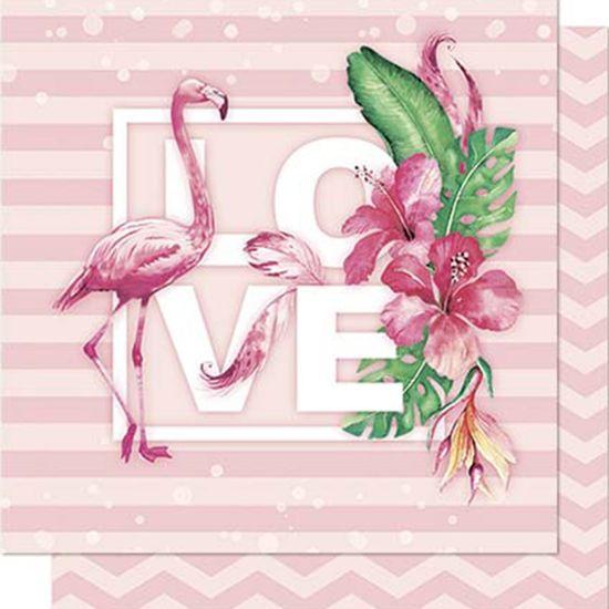 Papel-Scrapbook-Litoarte-SD-711-Dupla-Face-305X305cm-Flamingo-Love-Tropical-Chevron-Rosa