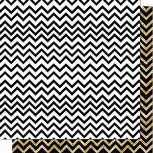 Papel-Scrapbook-Litoarte-SD-712-Dupla-Face-305X305cm-Chevron-Preto-Branco-e-Dourado