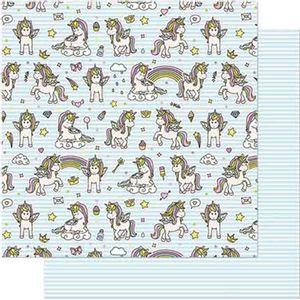 Papel-Scrapbook-Litoarte-SD-713-Dupla-Face-305X305cm-Unicornios-com-Fundo-Azul-Listrado