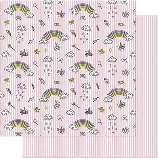 Papel-Scrapbook-Litoarte-SD-715-Dupla-Face-305X305cm-Unicornios-com-Fundo-Rosa-Listrado