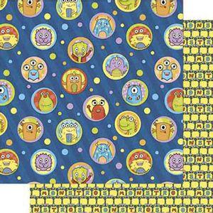 Papel-Scrapbook-Litoarte-SD-716-Dupla-Face-305X305cm-Monstrinhos-e-Poa