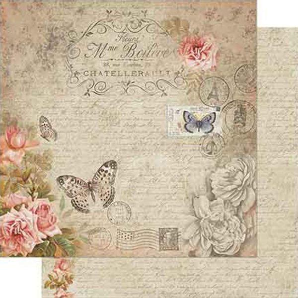 Papel-Scrapbook-Litoarte-SD-719-Dupla-Face-305X305cm-Vintage-de-Rosas-Salmao-com-Borboletas