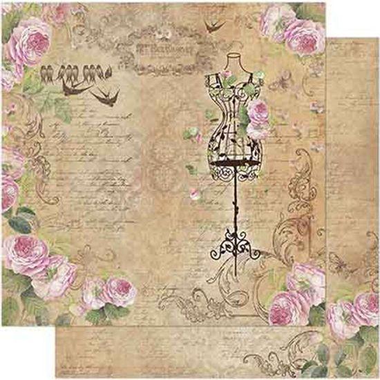 Papel-Scrapbook-Litoarte-SD-722-Dupla-Face-305X305cm-Vintage-de-Corpete-com-Rosas