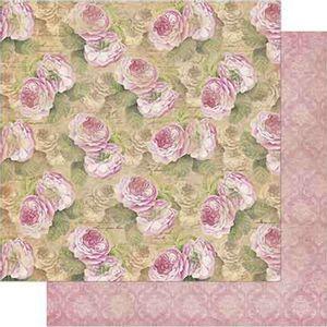 Papel-Scrapbook-Litoarte-SD-723-Dupla-Face-305X305cm-Vintage-Estampa-de-Rosas-Adamascado