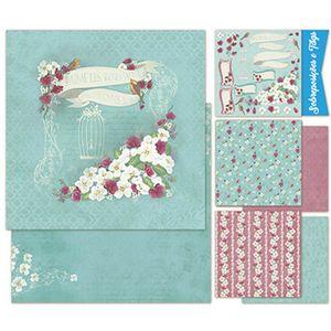 Kit-Papel-Scrap-Decor-Litoarte-KSD1-002-Dupla-Face-305x305cm-com-6-Folhas-Sortidas-Shabby-Chic-Flor-Branca-By-Lili-Negrao