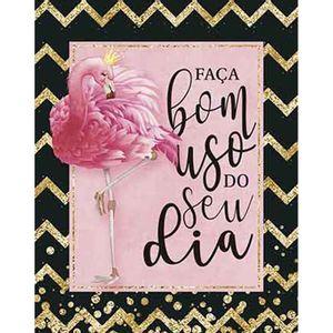Placa-Decorativa-Litoarte-DHPM-325-24x19cm-Flamingo-Frase-Faca-Bom-Uso-do-Seu-Dia