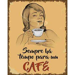 Placa-Decorativa-Litoarte-DHPM-345-24x19cm-Sempre-Ha-Tempo-Para-um-Cafe