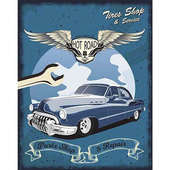 Placa-Decorativa-Litoarte-DHPM-368-24x19cm-Carro-Azul-Hot-Road