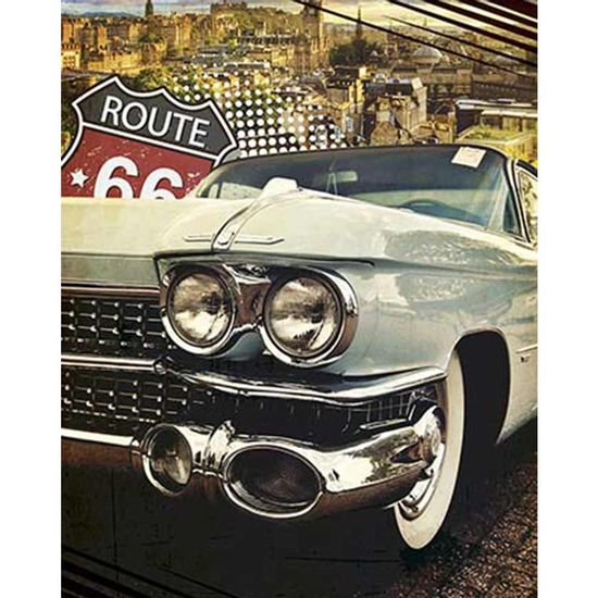 Placa-Decorativa-Litoarte-DHPM-374-24x19cm-Carro-Verde-Route-66