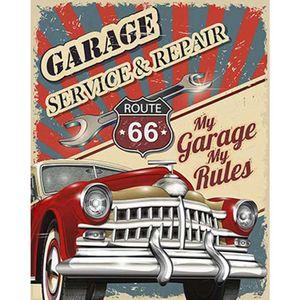 Placa-Decorativa-Litoarte-DHPM-376-24x19cm-Carro-Vermelho-Garage-Service