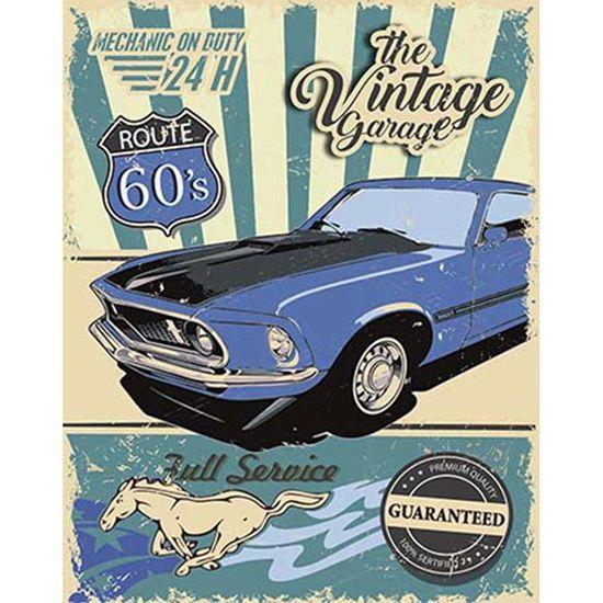 Placa-Decorativa-Litoarte-DHPM-377-24x19cm-Mustang-Azul-Route-60-S