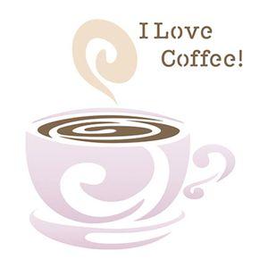 Stencil-Litoarte-10x10cm-Pintura-Simples-ST-X262-I-Love-Coffee-