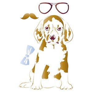 Stencil-Litoarte-344x21cm-Pintura-Sobreposicao-ST-067-Cachorro-de-Oculos