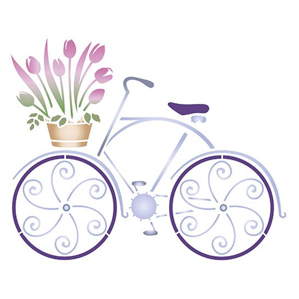 Stencil-Litoarte-211x172cm-Pintura-Simples-STM-350-Bike-e-Flores