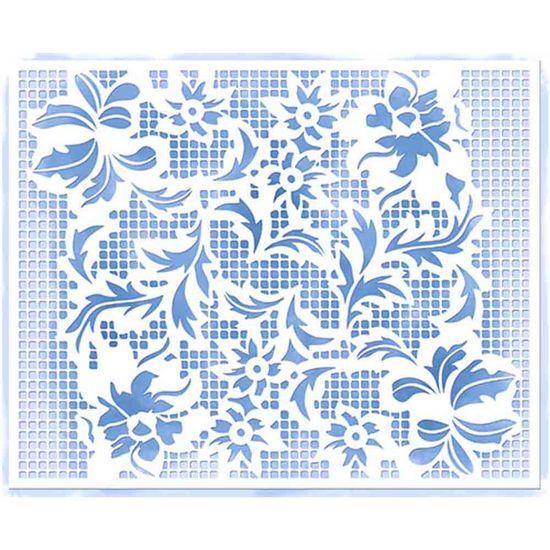 Stencil-Litoarte-205x166cm-Pintura-Simples-STA2-028-Arranjo-de-Flores-Rendado