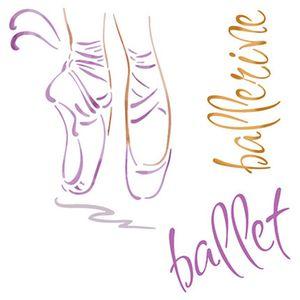 Stencil-Litoarte-20x20cm-Pintura-Simples-STXX-018-Sapatilhas-de-Ballet