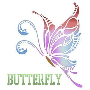 Stencil-Litoarte-20x20cm-Pintura-Simples-STXX-021-Butterfly