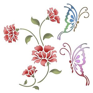 Stencil-Litoarte-20x20cm-Pintura-Simples-STXX-022-Flor-com-Borboletas