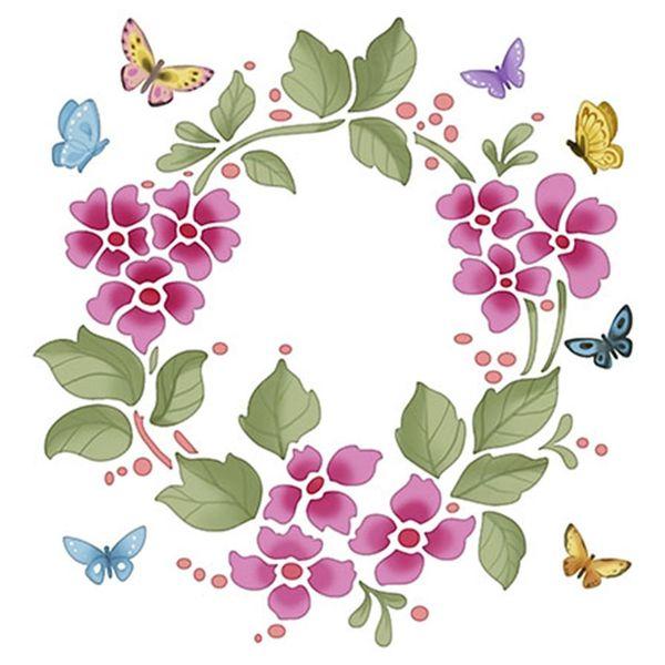 Stencil-Litoarte-20x20cm-Pintura-Simples-STXX-024-Guirlanda-Flores-com-Borboletas