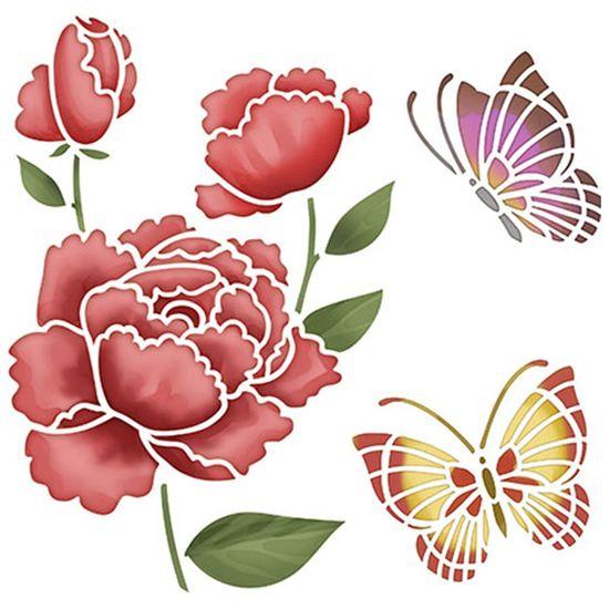 Stencil-Litoarte-20x20cm-Pintura-Simples-STXX-026-Rosas-com-Borboletas