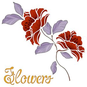 Stencil-Litoarte-20x20cm-Pintura-Simples-STXX-034-Flowers