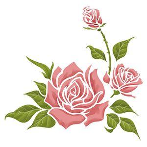 Stencil-Litoarte-20x20cm-Pintura-Simples-STXX-040-Rosas-com-Botoes