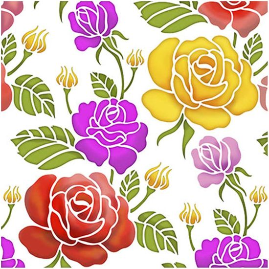Stencil-Litoarte-20x20cm-Pintura-Simples-STXX-041-Estampa-de-Rosas
