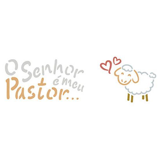 Stencil-Litoarte-17x65cm-Pintura-Simples-STP-122-O-Senhor-e-Meu-Pastor-para-Canecas