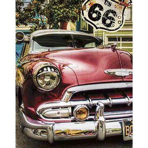 Placa-Decorativa-Litoarte-DHPM-373-24x19cm-Carro-Vermelho-Rota-66
